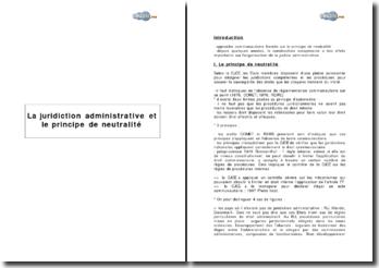 La juridiction administrative et le principe de neutralité
