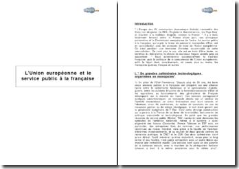 L'Union européenne et le service public à la française