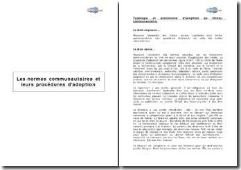 Les normes communautaires et leurs procédures d'adoption