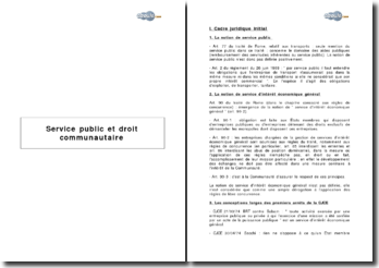 Service public et droit communautaire (2001)