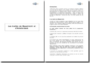 Les traités de Maastricht et d'Amsterdam