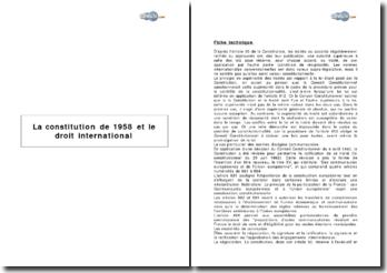 La constitution de 1958 et le droit international
