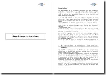 Procédures collectives - redressement, prévention et règlement amiable