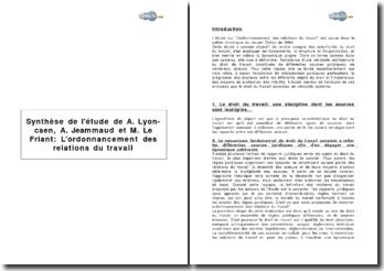 Synthèse de l'étude de A. Lyon-caen, A. Jeammaud et M. Le Friant: L'ordonnancement des relations du travail