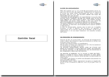 Contrôle fiscal - efficacité du droit de communication, procédures et réglementation