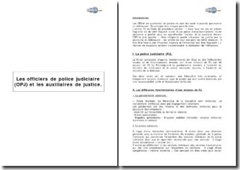 Les officiers de police judiciaire (OPJ) et les auxiliaires de justice