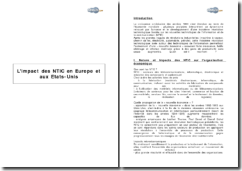 L'impact des NTIC en Europe et aux Etats-Unis