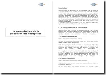 La concentration de la production des entreprises