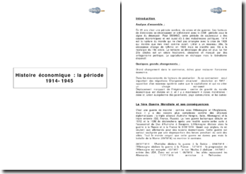Histoire économique: la période 1914-1945