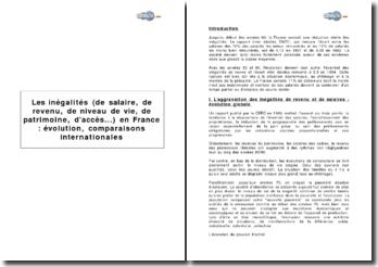Les inégalités (de salaire, de revenu, de niveau de vie, de patrimoine, d'accès...) en France : évolution, comparaisons internationales