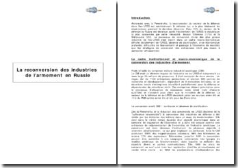La reconversion des industries de l'armement en Russie
