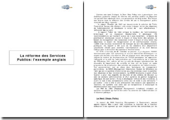 La réforme des Services Publics : l'exemple anglais