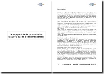 Le rapport de la commission Mauroy sur la décentralisation