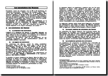 Les commissions des finances: composition et rôle
