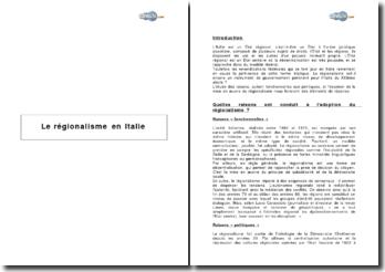 Le régionalisme en Italie