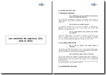 Les sociétés de capitaux (SA, SAS et SCA)