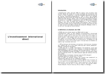 L'investissement international direct