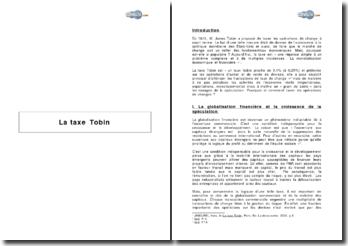 La Taxe Tobin : raisons d'un succès