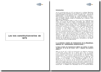 Les lois constitutionnelles de 1875 - la IIIe République et le minimalisme constitutionnel de l'indécision