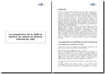 La compétence de la CJCE en matière de Justice et affaires intérieures (JAI)