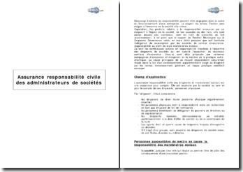 Assurance responsabilité civile des administrateurs de sociétés