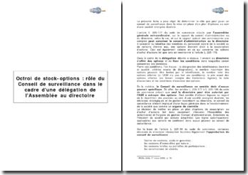 Octroi de stock-options : rôle du Conseil de surveillance dans le cadre d'une délégation de l'Assemblée au directoire