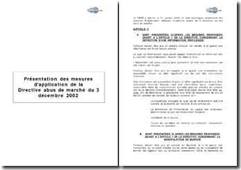 Présentation des mesures d'application de la Directive abus de marché du 3 décembre 2002
