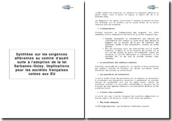 Synthèse sur les exigences afférentes au comité d'audit suite à l'adoption de la loi Sarbanes-Oxley. Implications pour les sociétés françaises cotées aux EU