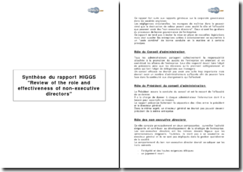 Synthèse du rapport HIGGS Review of the role and effectiveness of non-executive directors