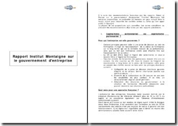 Rapport Institut Montaigne sur le gouvernement d'entreprise