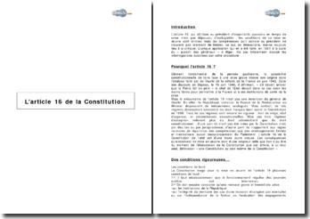 L'article 16 de la Constitution