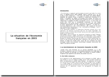 La situation de l'économie française en 2003