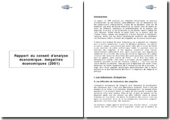 Rapport du conseil d'analyse économique. Inégalités économiques (2001)