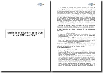 Missions et pouvoirs de la COB et du CMF - de l'AMF
