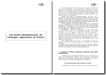 Les droits fondamentaux de l'étranger séjournant en France