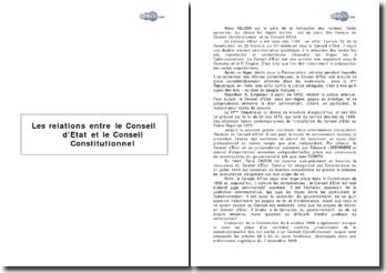 Les relations entre le Conseil d'Etat et le Conseil Constitutionnel
