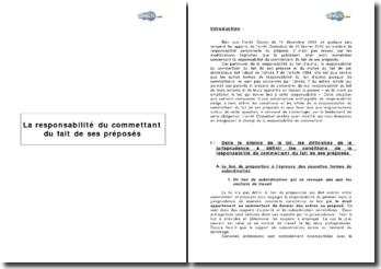 La responsabilité du commettant du fait de ses préposés: fondements, conditions et effets
