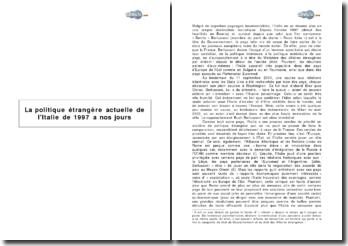 La politique étrangère de l'Italie de 1997 à nos jours (2003)