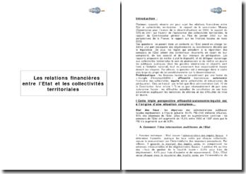 Les relations financières entre l'Etat et les collectivités territoriales