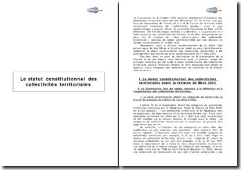 Le statut constitutionnel des collectivités territoriales