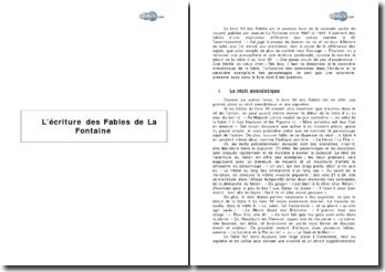 L'écriture des Fables de La Fontaine