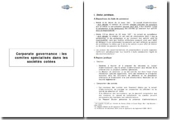 Corporate governance : les comités spécialisés dans les sociétés cotées