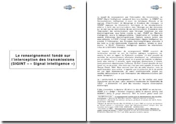 Le renseignement fondé sur l'interception des transmissions (SIGINT - « Signal Intelligence »