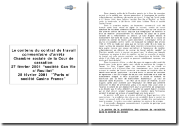 Les clauses de variabilité du contrat de travail: commentaire des arrêts Société Gan Vie c/ Rouillot en date du 27 février 2001 et ¨Paris c/ société Casino France en date du 28 février 2001 de la chambre sociale de la Cour de cassat