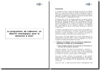 Le programme de Lisbonne: un objectif stratégique pour la décennie à venir