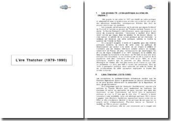 L'ère Thatcher (1979-1990)