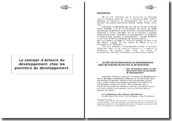 Albert Otto Hirschman & François Perroux: le concept d'acteurs du développement chez les pionniers du développement
