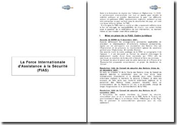 La Force Internationale d'Assistance à la Sécurité (FIAS)