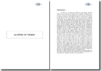 La Chine et Taiwan - modèles de développement en interaction