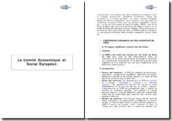 Le Comité Economique et Social Européen